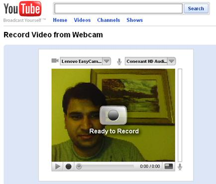 Now you are ready to record a video directly from your web cam.