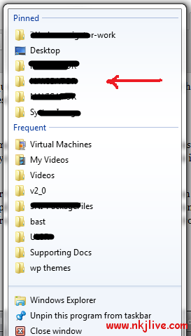 win7 pinned folders tutorials  [HowTo] Pin A Folder To Windows Explorer Jump List In Windows 7