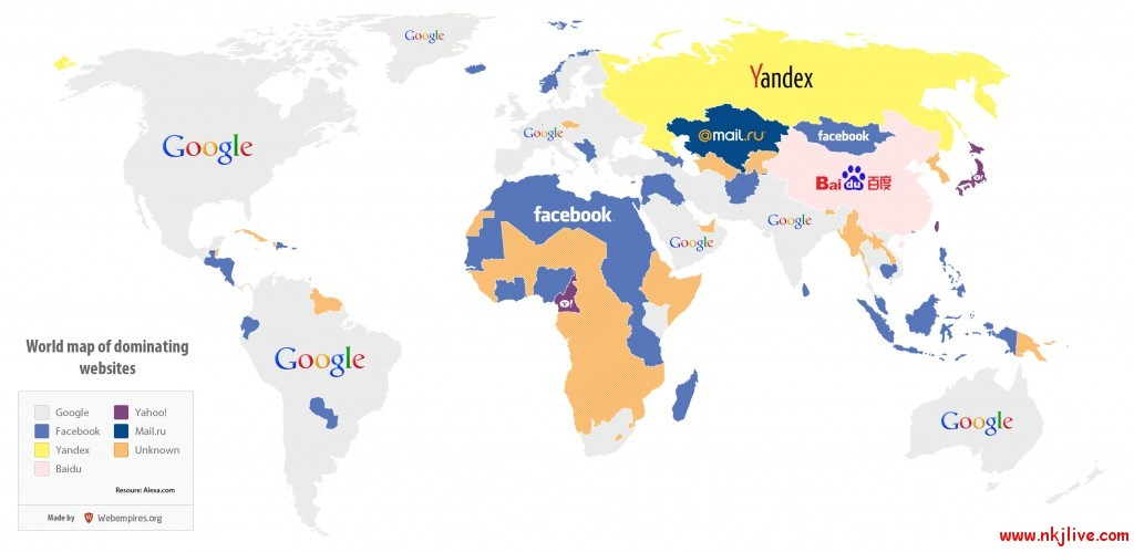 world map of dominating websites 1024x499 world infographics google facebook  World Map of Dominating Websites